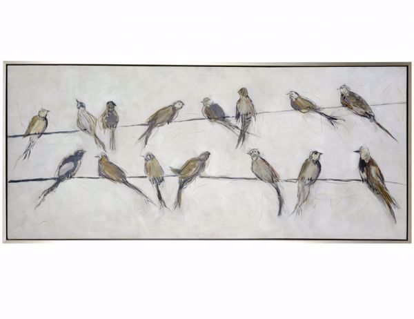 Picture of BIRDS ON WIRE FRAMED CANVAS ART