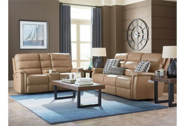 Picture of BASSETT REGENCY POWER SOFA & CONSOLE (AS IS)