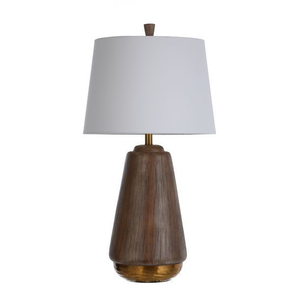 Picture of ROUND FAUX WOOD LAMP