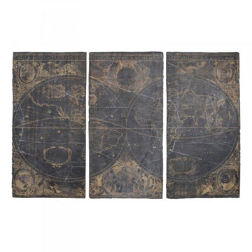 Picture of ANTIQUE WORLD MAP TRIPTYCH