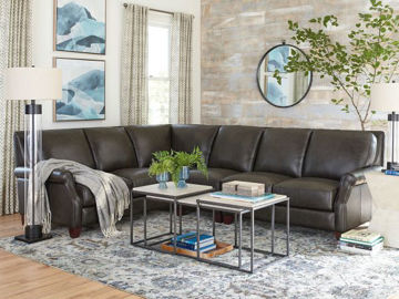 Picture of BASSETT CLUB LEVEL GREYSON LEATHER SECTIONAL